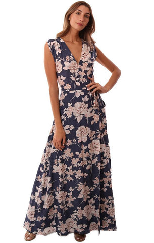 YUMI KIM DRESSES V NECK WRAP FLORAL PRINTED SILK NAVY DRESSY MAXI DRESS