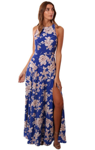 YUMI KIM DRESSES SLEEVELESS FLORAL PRINTED SIDE SLIT SILK BLUE MAXI DRESS