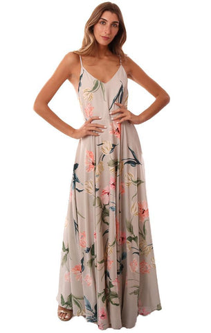YUMI KIM DRESSES V NECK FLOWY FLORAL PRINTED DRESSY PARTY MAXI DRESS