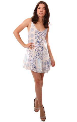 SKYLAR & MADISON DRESSES PATCHWORK PRINTED BLUE WHITE FLOWY MINI DRESS