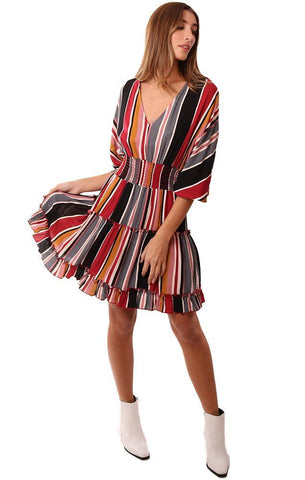 DRESSES V NECK SMOCKED WAIST RUFFLE BOTTOM STRIPED MINI DRESS