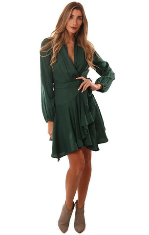 DRESSES LONG SLEEVE RUFFLE V NECK WRAP STYLE SILKY GREEN MINI DRESS