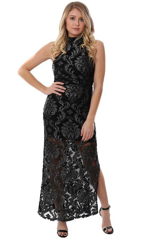 VERONICA M DRESSES SLEEVELESS LACE HALTER EMBROIDERED BLACK HOLIDAY MAXI DRESS