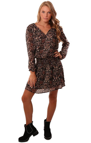 VERONICA M DRESSES TIE NECK SMOCKED WAIST FLORAL PRINTED MINI DRESS