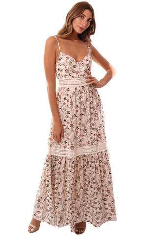 JACK BY BB DAKOTA DRESSES FLORAL PRINTED LACE CUT OUT FLOWY MAXI DRESS