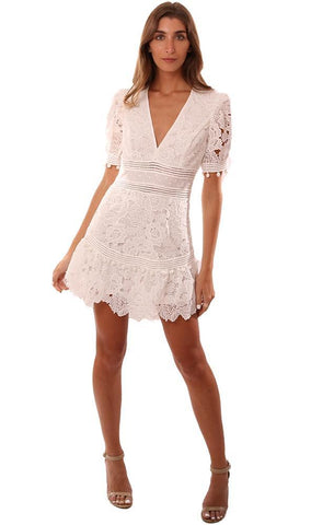 SAYLOR DRESSES V NECK POM POM TRIM WHITE LACE MINI DRESS
