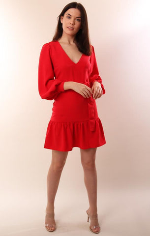 AMANDA UPRICHARD DRESSES V NECK RED MINI PARTY DRESS