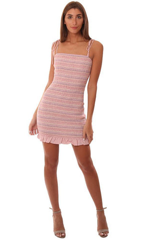 STORIA DRESSES SMOCKED PINK STRIPED TIE STRAP MINI TUBE DRESS