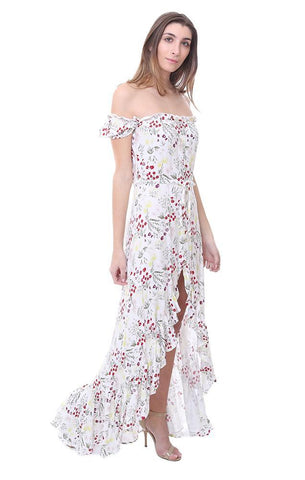 Off The Shoulder Button Up Floral Ruffle Front Slit Spring Maxi Dress