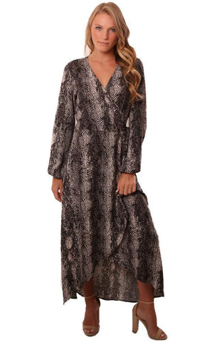 VERONICA M DRESSES LONG SLEEVE V NECK WOVEN TIE WAIST PRINTED WRAP MAXI DRESS