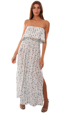 SKEMO DRESSES STRAPLESS BEADED POM POM TRIM EVIL EYE PRINT WHITE MAXI DRESS