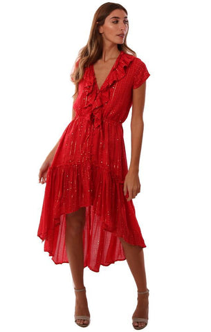 SUNDRESS DRESSES RUFFLE V NECK SHORT SLEEVE BUTTON UP HI LOW RED MIDI DRESS