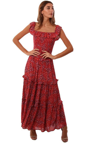 SKYLAR MADISON DRESSES RUFFLE TRIM FLORAL PRINTED RED MAXI DRESS