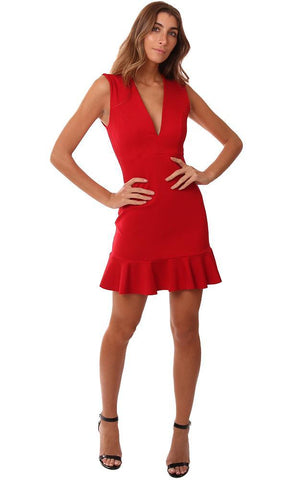 SUSANA MONACO DRESSES SLEEVELESS PLUNGING V NECK RUFFLE HEM RED MINI DRESS