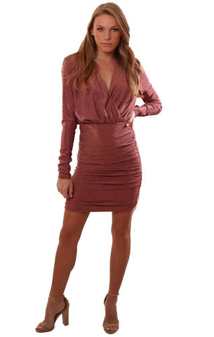DO AND BE DRESSES V NECK RUCHED SPARKLY ROSE GOLD PINK FITTED MINI DRESS