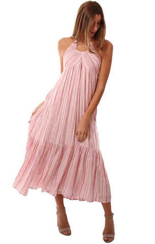 FREE PEOPLE DRESSES STRIPED FLOWY PINK HALTER TOP MAXI DRESS