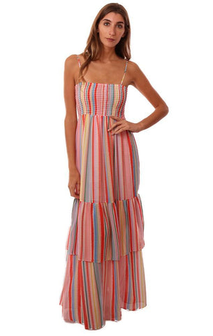 JACK BY BB DAKOTA DRESSES SMOCKED RUFFLE COLORFUL STRIPED MAXI DRESS