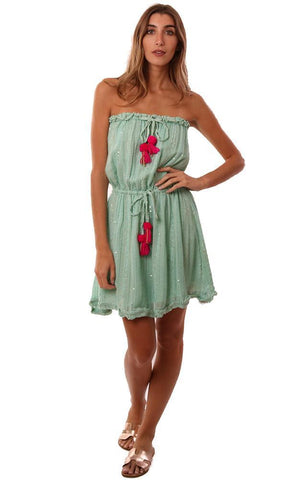SUNDRESS DRESSES STRAPLESS TASSEL POM POM TIE SEQUIN GREEN MINI COVERUP DRESS