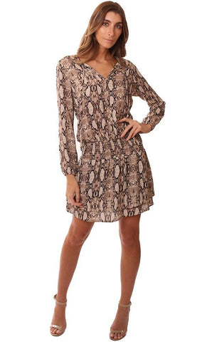 VERONICA M DRESSES TIE NECK SMOCKED DROP WAIST TIERED RUFFLE BOTTOM MINI DRESS