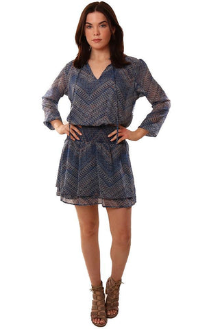 VERONICA M DRESSES TIE NECK SMOCKED WAIST PRINTED BLUE MINI DRESS
