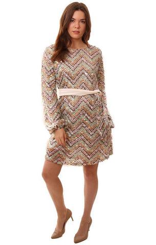 DRESSES LONG SLEEVE MULTI COLORED SEQUIN TIE WAIST FORMAL MINI PARTY DRESS