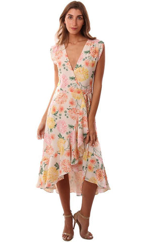 YUMI KIM DRESSES V NECK SLEEVELESS WRAP FLORAL PRINTED RUFFLE HEM MIDI DRESS