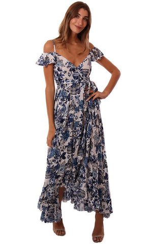 RAGA DRESSES V NECK OFF THE SHOULDER TIE WAIST RUFFLE PRINTED MAXI DRESS