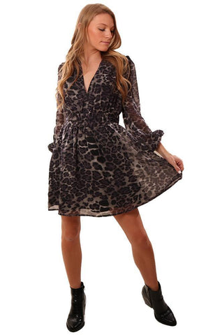 DRESSES V NECK EDGY ANIMAL PRINT RUFFLE MINI PARTY DRESS
