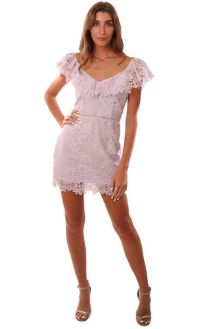 SAYLOR DRESSES V NECK DRESSY LACE LILAC MINI DRESS