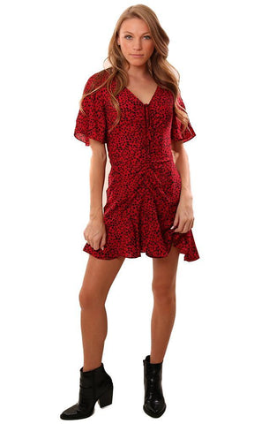BB DAKOTA DRESSES V NECK RUCHED FRONT ANIMAL PRINT RUFFLE RED MINI DRESS