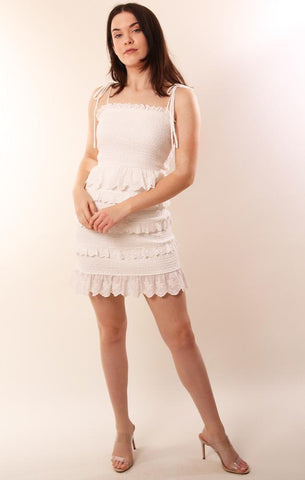 STORIA DRESSES SMOCKED TIE STRAP RUFFLE WHITE EYELET LACE MINI DRESS
