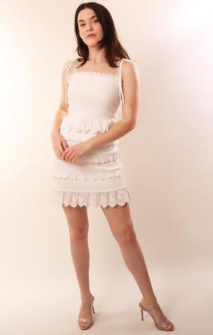 DRESSES SMOCKED TIE STRAP RUFFLE WHITE EYELET LACE MINI DRESS STORIA