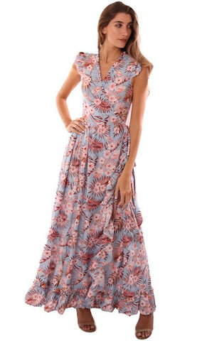 STORIA DRESSES RUFFLE SLEEVE V NECK WRAP STYLE FLORAL PRINTED MAXI DRESS