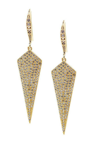 EARRINGS GOLD FILLED PAVE CUBIC ZIRCONIA SHIELD EARRING