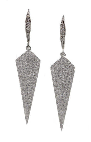 EARRINGS STERLING SILVER PAVE SHIELD JEWELRY
