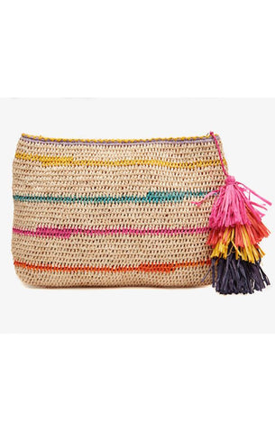EVIE STRIPED TASSEL CLUTCH WOVEN SUMMER COLORFUL RAFFIA