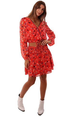 Q&A SKIRTS SMOCKED WAIST FLORAL PRINTED TIERED RED MINI SKIRT