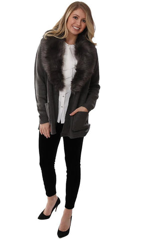 METRIC CARDIGANS FAUX FUR COLLAR OPEN FRONT GREY SWEATER LAYERING JACKET