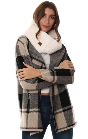 SCARVES FAUX FUR IVORY SOFT INFINITY TUBE SCARF