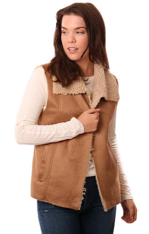 BB DAKOTA VESTS OPEN FRONT SOFT FAUX SUEDE AND SHERPA LINED TAN VEST