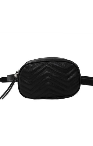 FANNY PACKS VEGAN LEATHER QUILTED STITCHED BLACK CHIC WAIST PACK BAG