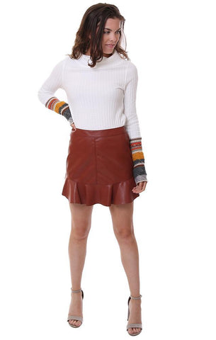 BB Dakota Skirts Faux Leather Ruffle Hem Brown Chic Mini Skirt