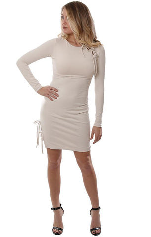 SUSANA MONACO DRESSES LONG SLEEVE TIED DETAILS FITTED CHIC DRESSY IVORY MINI DRESS