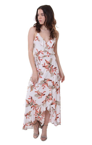 Veronica m ruffle wrap maxi dress myrtle print floral sleeveless tropical wrinkle free dress