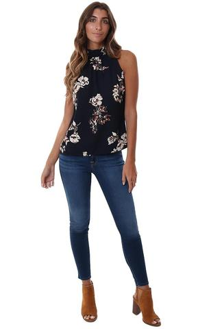 VERONICA M TOPS PLEATED HIGH NECK HALTER NAVY FLORAL PRINTED SLEEVELESS TOP