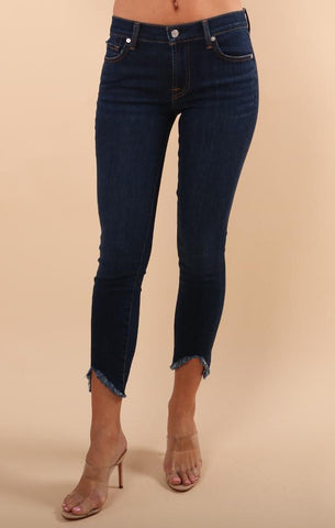 THE ANKLE SKINNY 7 FOR ALL MANKIND FRAYED EDGE V CUT JEANS