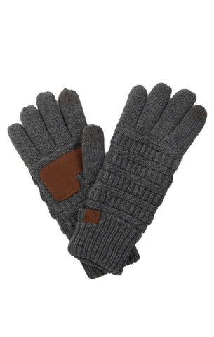 GLOVES SMART TIP WARM FLEECE LINED GREY WINTER FINGER GLOVES