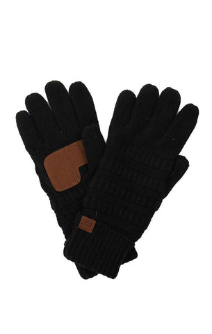 GLOVES SMART TIP WARM FLEECE LINED BLACK WINTER FINGER GLOVES