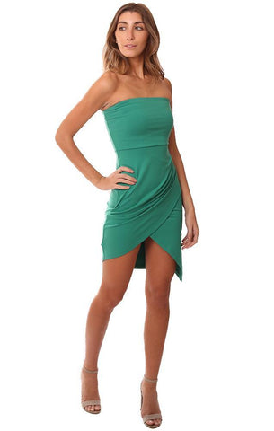 Susana Monaco Dresses Strapless Green Pleated Front Green Mini Dress