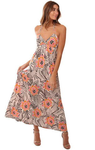 VERONICA M DRESSES DOUBLE STRAP HALTER FLORAL PRINTED V NECK MAXI DRESS